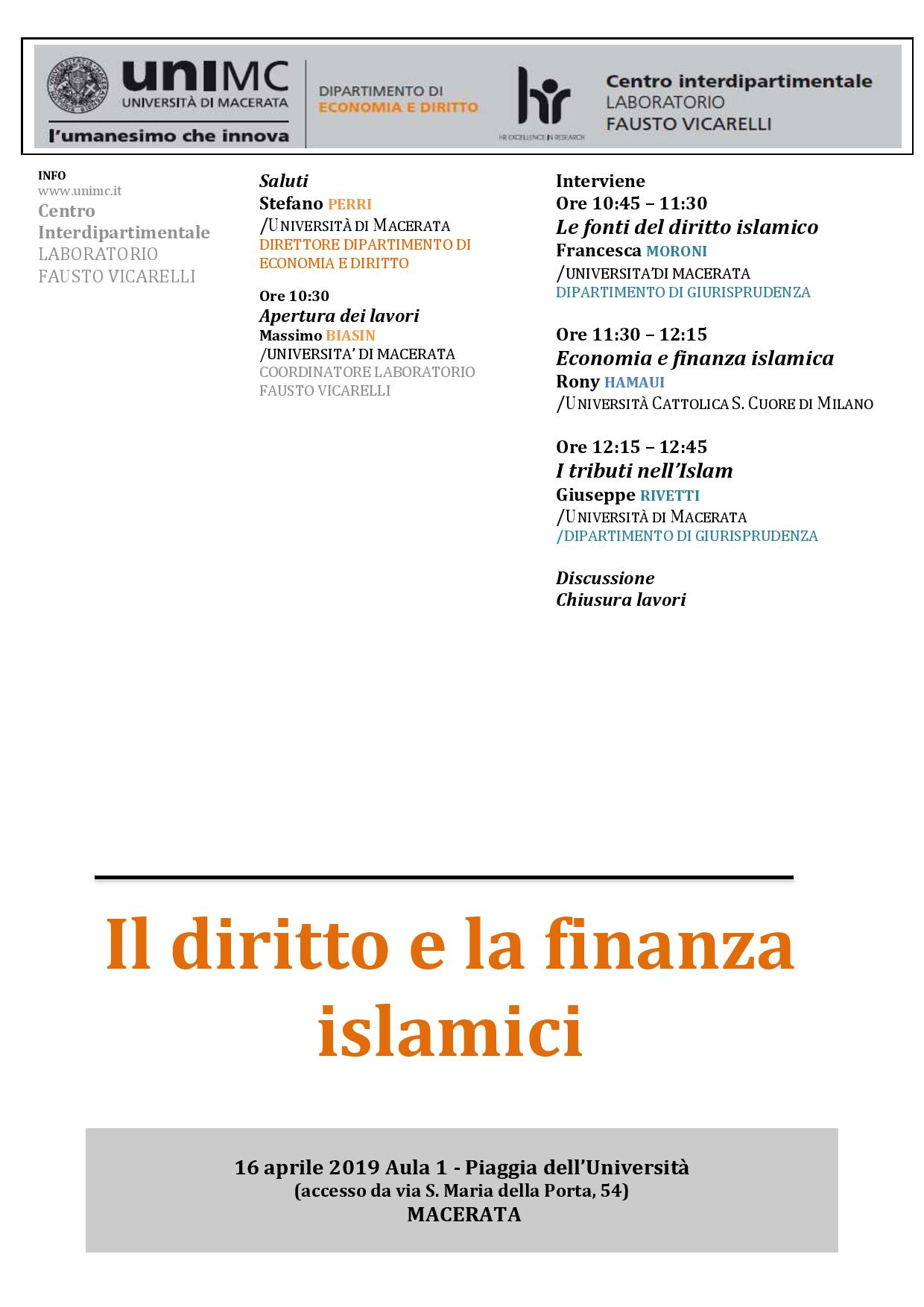 SEMINARIO: Il diritto e la finanza islamici